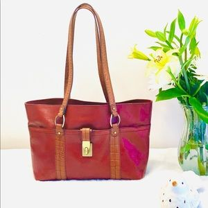 🌼Etienne Aigner Leather Satchel, Burnt Orange/Tan